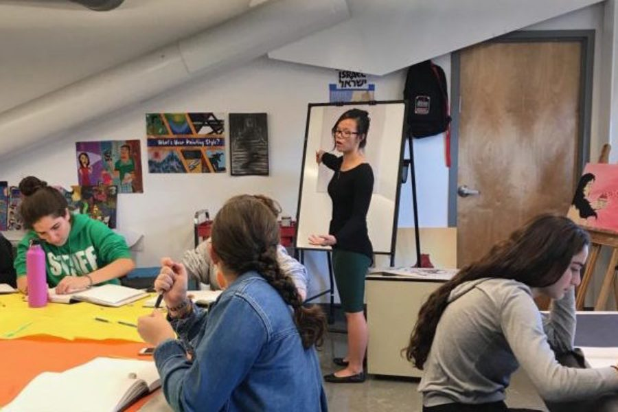 SHARE: Senior and AP Art student Sydney Gross, standing at easel, is the first student ever invited to teach Roen Salem's 10th-grade Composition & Design classes.