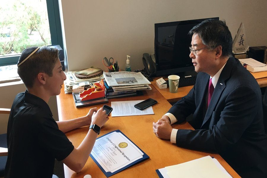WINNER: Samson got to meet Congressman Ted Lieu when receiving his award. In addition to meeting the Congressman, Samson has the chance to travel to Washington, D.C. and present his app in the Capitol Building.