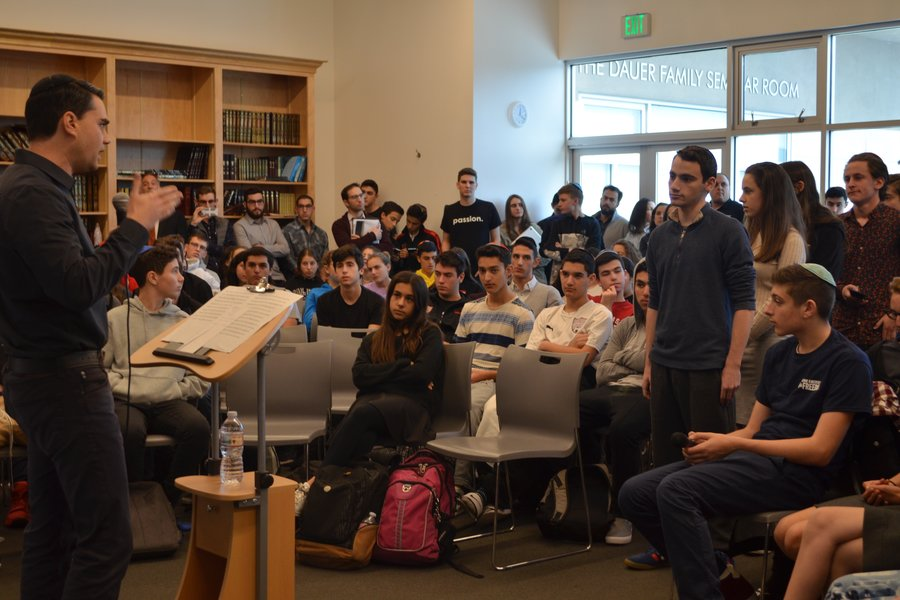 CONSERVATIVE: Ben Shapiro was greeted enthusiastically in the Beit Midrash on January 17.