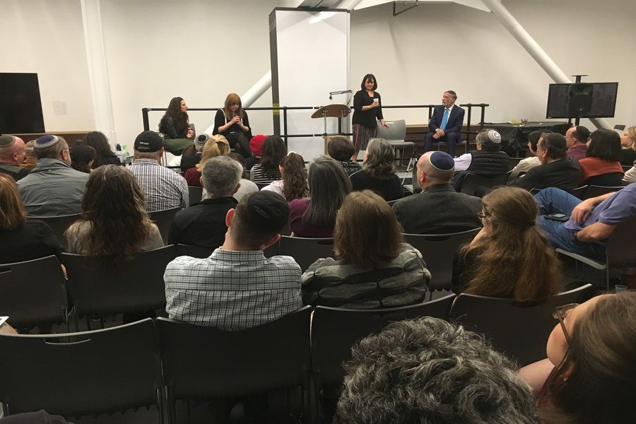 LISTENING: Members of the community gathered in the Beit Midrash to hear Judaic Studies teachers Ms. Atara Segal and Rabbi Abraham Lieberman and Rabbanit Pnina Neuworth of Bnai David at a recent Shalhevet Institute event moderated by Ms. Julie Fax.