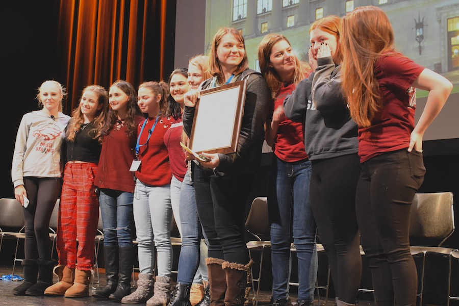 AWARD: Newspaper and Yearbook staff of Marjory Stoneman Douglas High School in Parkland, Fla., accept a Gold Crown Award from CSPA March 16  in New York City.  An audience of about 1,200 students and advisers, including staff of the Boiling Point, gave them a standing ovation.