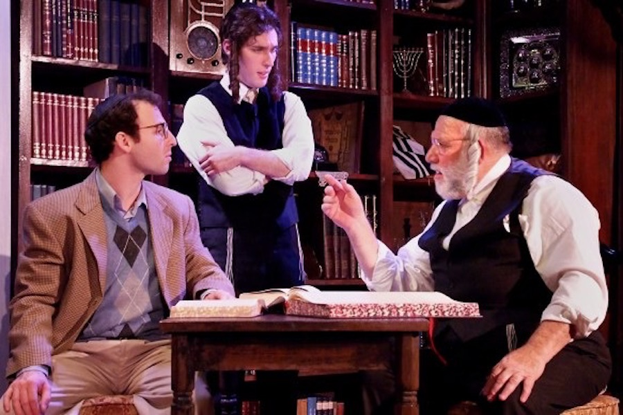 LEARN: Steve Green as Reb Saunders, right, studies Tractate Yevamot with Sam Mandel as Reuven Malter in 'The Chosen.'  Both actors received coaching from Judaic Studies teacher Rabbi Daniel Bouskila.