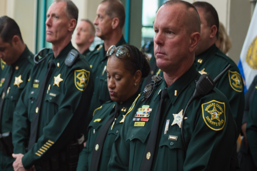 Officers of the Broward County Sheriff's Department last month in a photograph taken after the shooting at Margory Stoneman Douglas High School in Parkland, Fla.