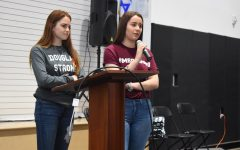 TOGETHER: Mia Freeman and Hayley Licata answer students' and teachers' questions after telling their stories.