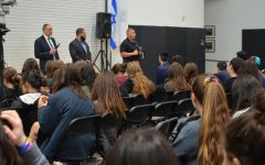SAFETY: Security team leaders Ivan Wolkind, Charles Law, and Randy Rangel answered student questions in the gym.
