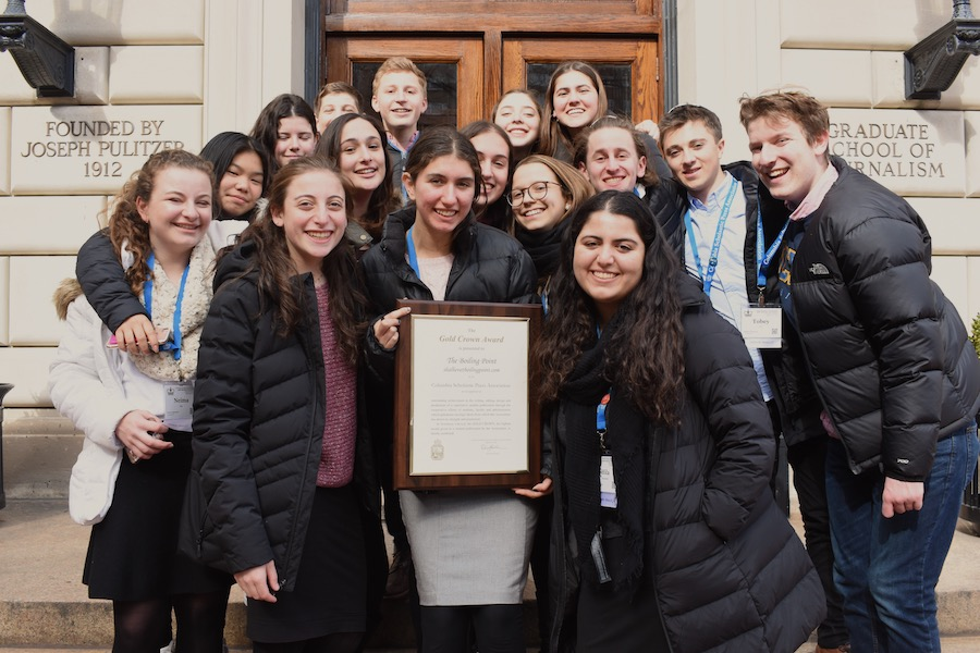 WINNERS:   Boiling Point editors posed in front of Columbia University's Pulitzer Graduate School of Journalism with their latest Gold Crown award at the CSPA's Spring Convention in New York City March 16.