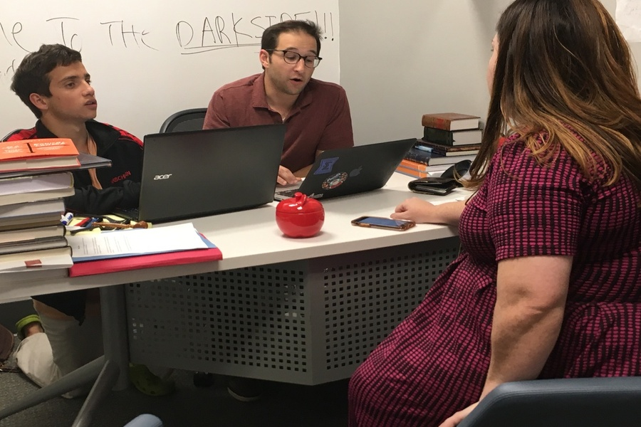 COUNT: From left, Sam Hirschhorn, Rabbi Ari Schwarzberg and Academic Dean Aviva Walls compiled tallies after school in Rabbi Schwarzberg's office from today's Just Community elections.