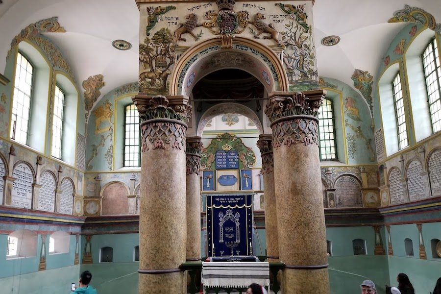 INTRICATE:    The Lancut Synagogue in Poland is a 257-year-old shul painted with Hebrew prayers and adorned with complex designs frauht with religious symbolism.   BP photo by Tyler Ekaireb