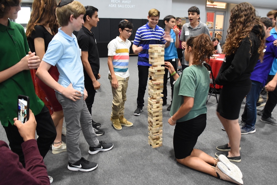 TEAM-BUILDING:  Freshmen bonded over several activities that encouraged teamwork and collaboration, such as Jenga.  BP photo by Zoey Botnick.