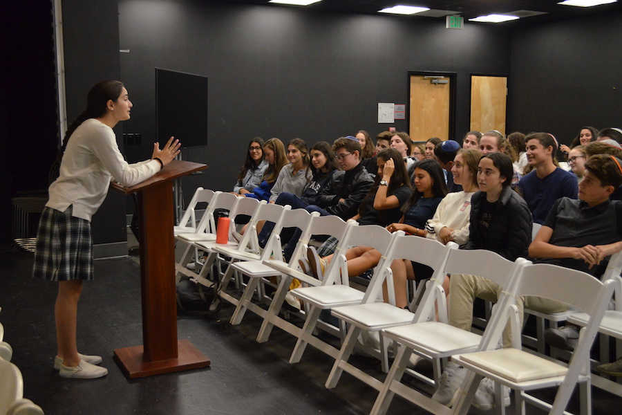 SPEECH:   Gaby Lasry addressed the 11th grade Sept. 13 as candidates for Fairness, Agenda and SAC campaigned in their respective grades. Students then cast their votes for two representatives for each Just Community branch.  BP Photo by Alyssa Wallack.