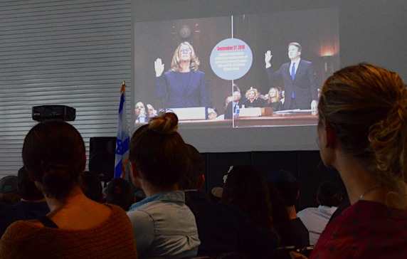 CONTROVERSY: Town Hall Oct. 17 started with a student-made video about Brett Kavanaugh's confirmation hearings.   The discussion afterward was respectful and opinion leaned in favor of the nominee, who had been confirmed 10 days earlier.