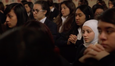 TEEN: Dalya Zeno, second from right, attended a Catholic, all-girls private high school after immigrating from Syria in 2011.