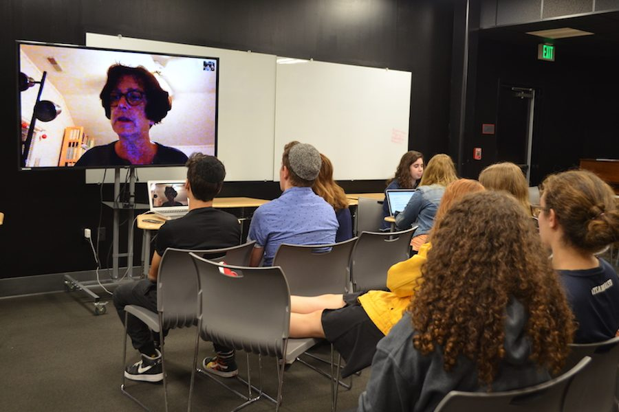 CHAT:    D.W. Gregory answered questions during a 45-minute long-distance visit with members of Shalhevet's Drama Ensemble.