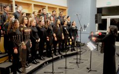 CANDLELIGHT:   On the fourth night of Channukah, the choir performed their holiday staples like Al Hanissim, Maoz Tzur and Mi Yemalel and the two new songs performed for the first time in concert.