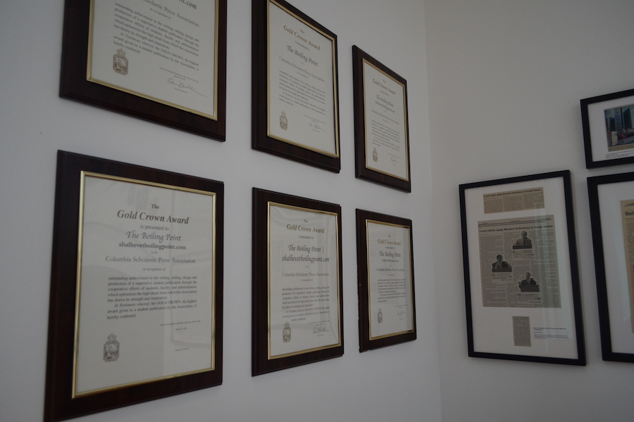 DISPLAY:   CSPA Gold Crown awards from six previous years hang in the second-floor foyer at school. Nominated for a seventh, the Boiling Point has also won major awards NSPA and the American Jewish Press Association.