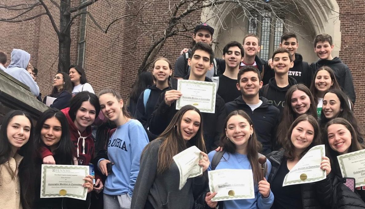DELEGATION: the 21-person Firehawk Model Congress team competed at the University of Pennsylvania from Thursday through Sunday, skipping sessions during Shabbat.