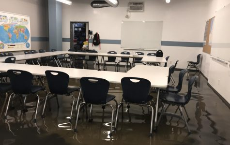 SUBMERGED: Water in Room B101 was about 3 inches deep at 1:30 p.m. today.