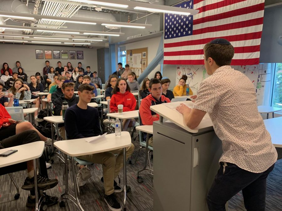 FIRST: Students in Room 308 this morning heard junior Gilad Spitzer argue against the school election results in the first-ever Fairness case to discuss overturning school election results.