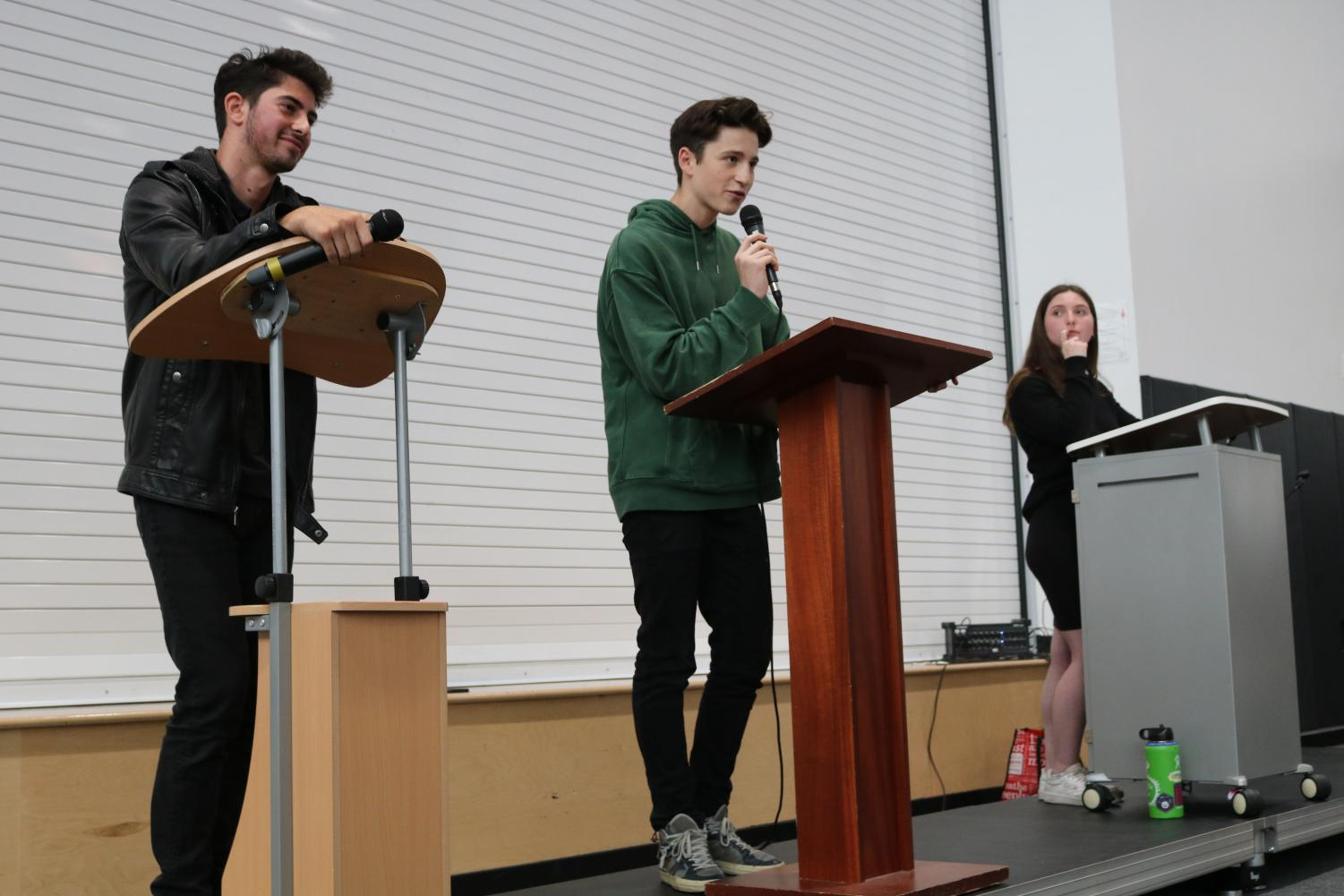 "DEMOCRACY: Newly elected Agenda Chair David Edwards, center, said at today's candidate debate that he would ""revise and revive"" the school constitution and start an Agenda Instagram. Defeated candidates were Maya Tochner, this year's vice chair, and Noah Hertzberg."