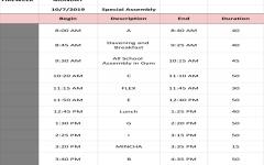 BELL SCHEDULE: 10/7/19