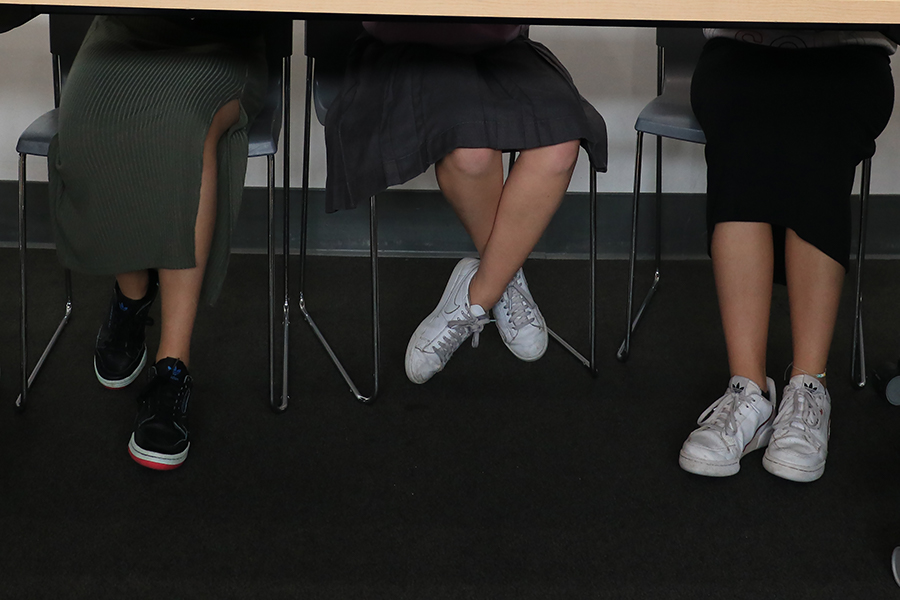 LONGER:  Freshmen Amalia Abecassis, Zoe Miller and Tehilla Fishman worked on a class project last month. This year, girls are wearing midi, maxi and uniform skirts after Shalhevet changed its dress code to ban knee-length pencil skirts.