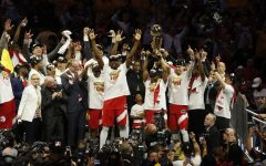 CHAMPIONS:    The Toronto Raptors celebrated after beating the reigning back-to-back champion Golden State Warriors in the NBA finals last June. It was Toronto's first NBA title ever, led by Kawhi Leonard, who now will play for Clippers.