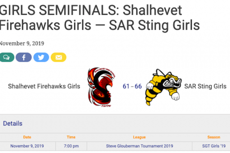 SAR Sting girls beat Shalhevet Firehawks to advance to the championship where they will face the Maimonides MCATS at 10:00 PM