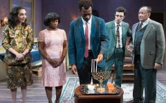 DIFFERENT: Three decades after Rebecca arrives in the US, her friends and family from different backgrounds gather to light the menorah on the third night of Hanukkah in 'Eight Nights,' at the Antaeus Theater last month.