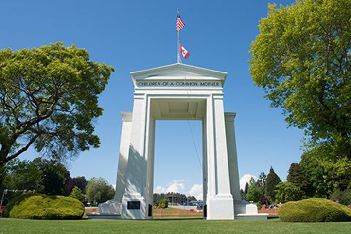 BORDER: The Peace Arch, located at the border crossing between the U.S. and Canada in northwest Washington state, was built as a monument to American-Canadian friendship. Earlier this month, American citizens of Iranian descent were detained there for as much as nine hours in a crackdown after the killing of Iranian General Qaxxam Soleimani.