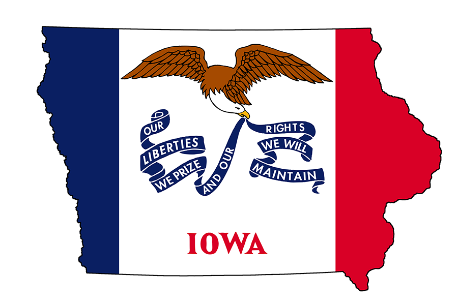 UPCOMING: Residents of Iowa, whose flag is shown above, are casting the first ballots of the 2020 presidential contest at caucuses tonight.