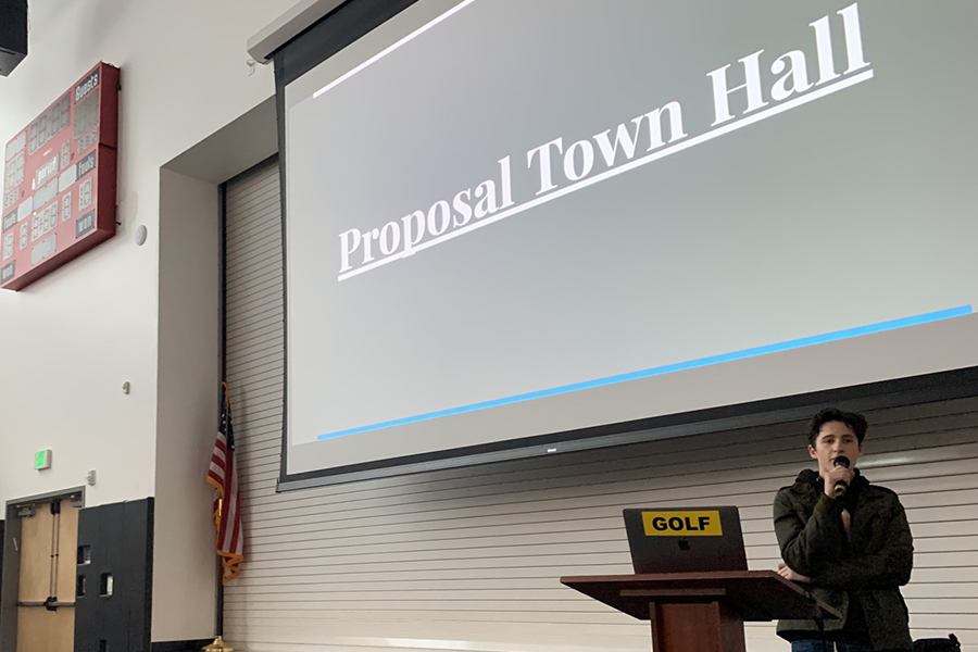 LIVE: Agenda Chair David Edwards led a discussion on proposals at Town Hall in the gym Feb. 4. It turned out to be one of the last times that the entire Shalhevet community gathered in person this year.