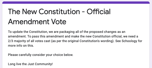 BALLOT: Online voting on a multi-part amendment to the Just Community constitution is open from 9 a.m. until 5 p.m. today.