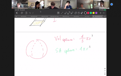 MATH: Ninth-graders in Ms. Kong's Honors Geometry class studied the volume of three-dimensional shapes on Zoom this morning.  Students say they appreciate the reduction in homework, though some still find learning harder via computer.