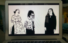 ADAPTED: For Yishai Thaus play Speak Now, about a graduation party, a professional videographer created an animated screen using photos of the actors.  From left, Hannah Poltorak, Talya Kukurudz and Neima Fax played graduating seniors.
