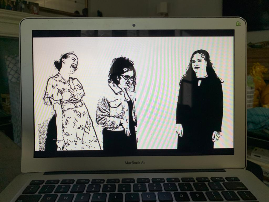 ADAPTED: For Yishai Thau's play 'Speak Now,' about a graduation party, a professional videographer created an animated screen using photos of the actors.  From left, Hannah Poltorak, Talya Kukurudz and Neima Fax played graduating seniors.