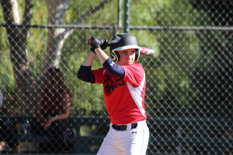 AT-BAT: Jack Metzger positioned at the plate during a Firehawks fall-ball game.