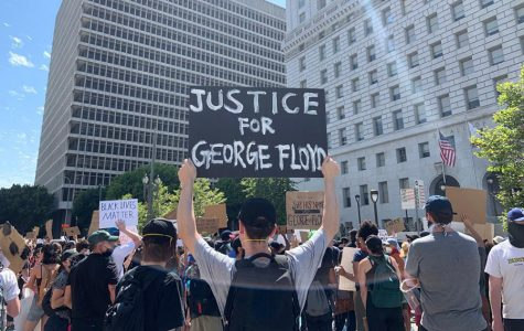 UNITED: People of all ages and races converged on the Hall of Justice near City Hall downtown yesterday to protest police brutality against African-Americans. Seniors Maia Lefferman and Avital Jacobson were part of the crowd, which media reports estimated at more than 3,000 people.