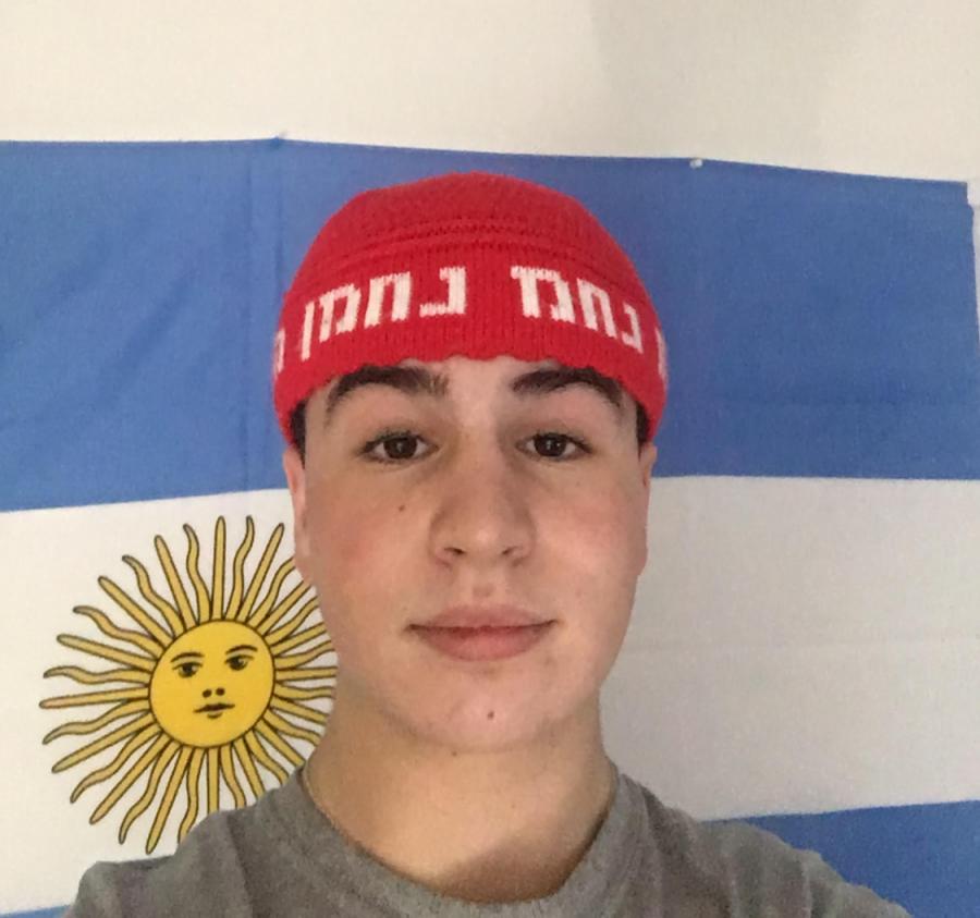PROUD: A flag of Argentina hangs in Dani Kunin's room.
