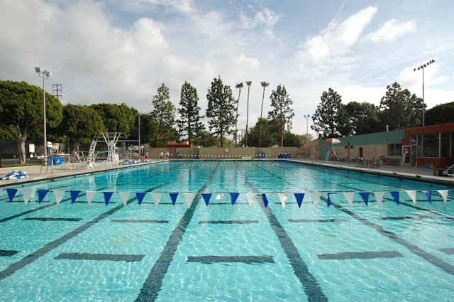 BUSY: When it's open, Olivia Fishman practices swimming several times a week at the Culver City pool, above.