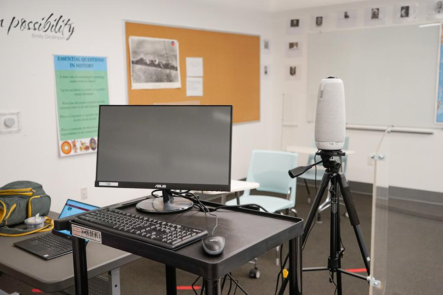 """SURROUND: Shalhevet's """"Owl"""" devices, 360-degree video cameras with microphones, pick up sound and visuals from around the rooms they're in so students who are attending class on Zoom can get a fuller classroom experience."""