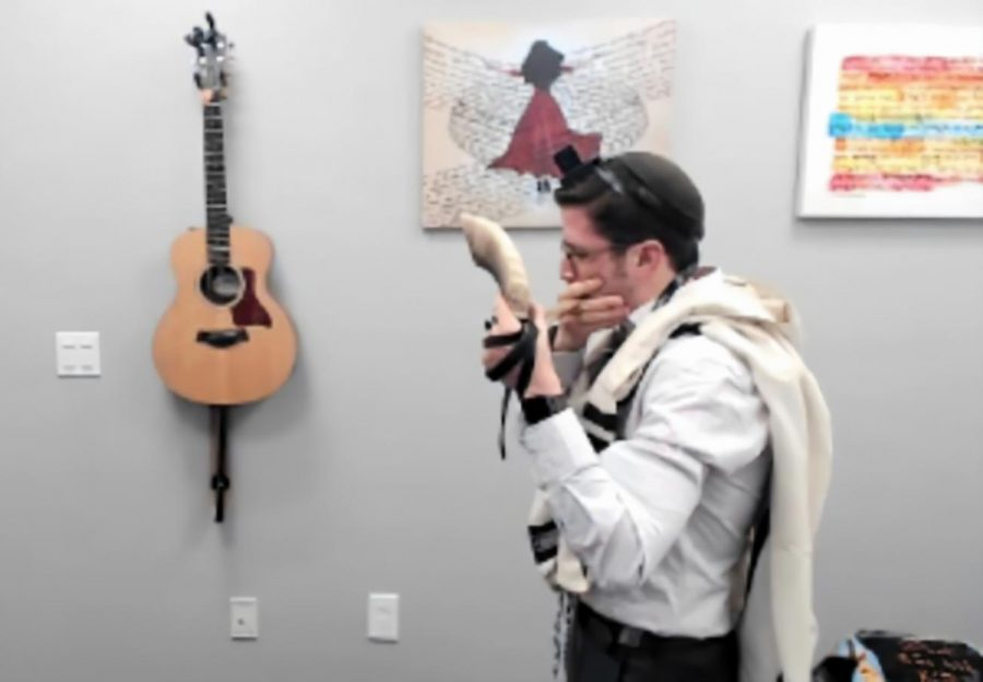 REMOTE: Rabbi David Block blew the shofar over Zoom for his 10th-grade Talmud class on Sep. 8.