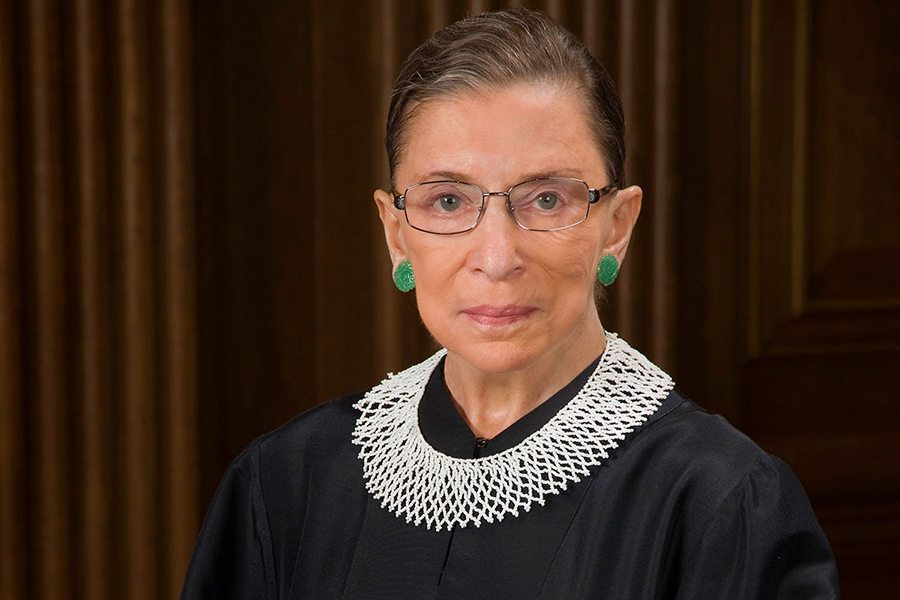 ICONIC: Ruth Bader Ginsburg was famous for wearing carefully chosen collars to Supreme Court deliberation. Here she is pictured wearing a white jabot from South Africa, a favorite of hers.