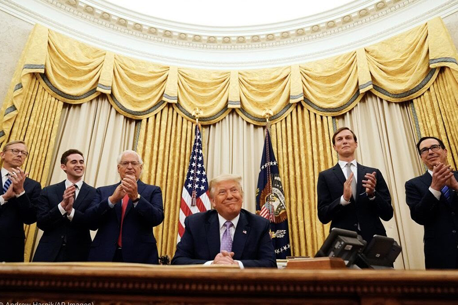 SMILES: President Trump (center) was applauded at the White House Aug. 13 after announcing agreements to normalize diplomatic relations  between Israel and the United Arab Emirates, with (from left), Special Representative for Iran Brian Hook, Special Representative for International Negotiations Avi Berkowitz, US Ambassador to Israel David Friedman, Senior Adviser Jared Kushner, and Treasury Secretary Steven Mnuchin.