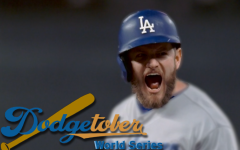 BASE HIT: Max Muncy celebrates after hitting a 2-RBI single in the top of the third inning in Game 3 of the World Series on Friday.