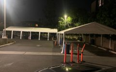 PAUSED: New tents in the parking lot last Thursday night waited for students who would have started on-campus Judaic Studies classes yesterday if not for a last-minute cancellation.