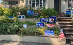 RECOVERED: Stolen political yard signs were set up on the front lawn of Amanda Kogan in Beverlywood Oct. 5 so people could pick them up. Ms. Kogan posted on NextDoor that shed found the signs, which had been dropped in a pile on Wooster and 18th streets.