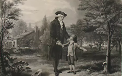 HONEST: This 1867 engraving by John C. McRae refers to a famous myth about George Washington that when he was a boy, he damaged his father's cherry tree with a hatchett. The story goes that when asked what happened to the tree immediately admitted it, saying,