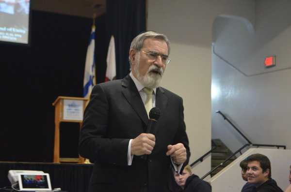 LOCAL: Rabbi Sacks, whose teachings are spread throughout the LaHav curriculum, made many trips to Los Angeles, including to Hillel Hebrew Academy, above, in February 2014.