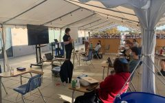 "LIVE: Rabbi Abraham Lieberman taught 10th-grade Modern Jewish History Dec. 3 in the Sarah tent on the third-floor patio. According to a Nov. 27 Los Angeles ""Health Officer Order,"