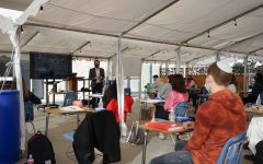 BACK: Rabbi Block taught his senior Advanced Jewish Philosophy class in person for the first time Dec. 1, in the 'Sarah' tent outside the Beit Midrash on the third floor.  Outdoor temperatures that day were in the upper 60s.